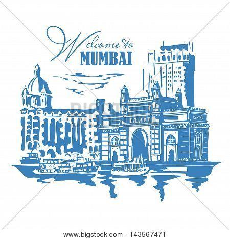 Mumbai India Gate and the Taj Mahal Hotel Mumbai the view from the Arabian Sea. Vector monochrome illustration.