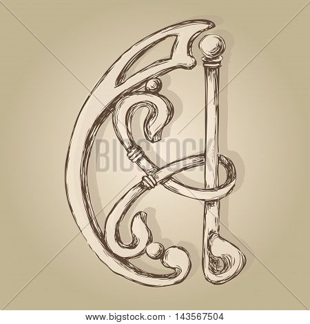 letter A monogram style artnuvo and forging