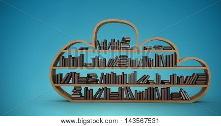 Wooden shelf with various books against blue vignette background