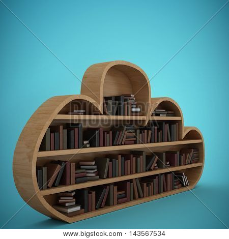 Books arranged on cloud shaped bookshelves against blue vignette background