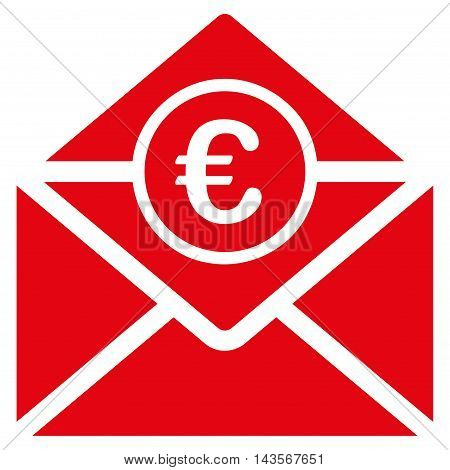 Euro Mail icon. Vector style is flat iconic symbol with rounded angles, red color, white background.