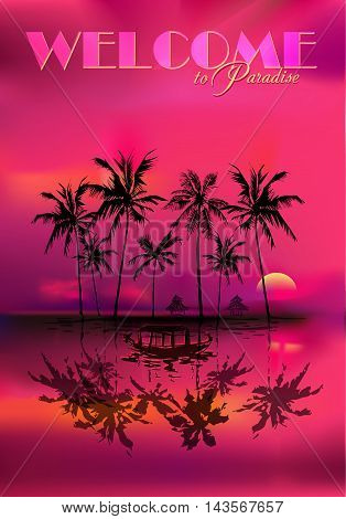 tropical sunset with palms reflected in the water and fishing boat