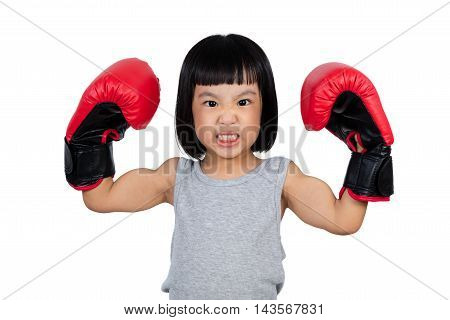 Chinese Little Girl Wearing Boxing Glove