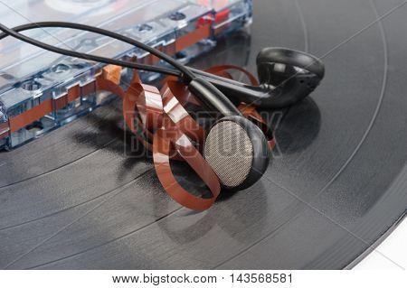 Audio cassette, vinyl record and Headphones