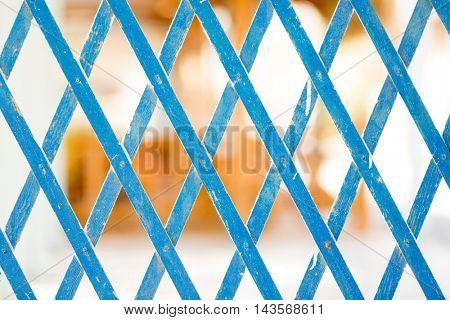 Blue Grid Wooden fence