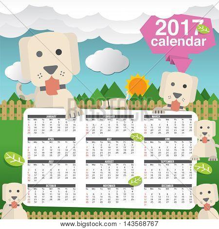 2017 Calendar Starts Sunday Cute Dogs In Backyard Vector Illustration