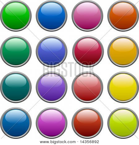 A lot of metallic buttons. Vector illustration.