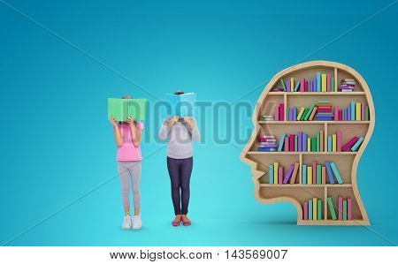 Elementary pupils reading against blue vignette background