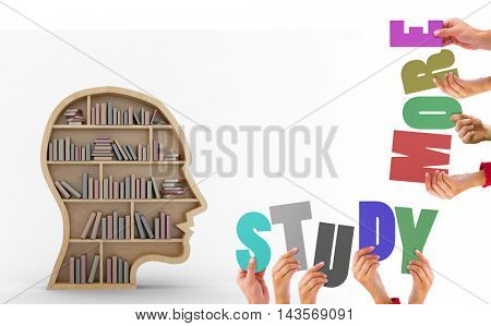 Colorful alphabet spelling study more held up by people against human face shape bookshelves on white background