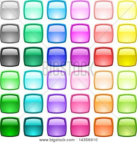 A lot of glossy buttons. Vector illustration.