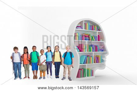 Cute pupils smiling at camera against colorful books in human face in bookshelves