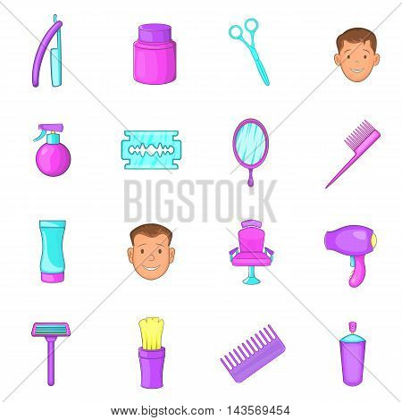 Barbershop icons set in cartoon style. Man set collection vector illustration