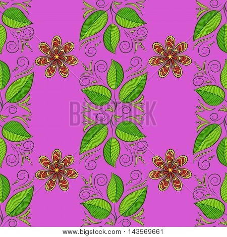 Vector seamless dark pink background with green leaves and stripe flowers.