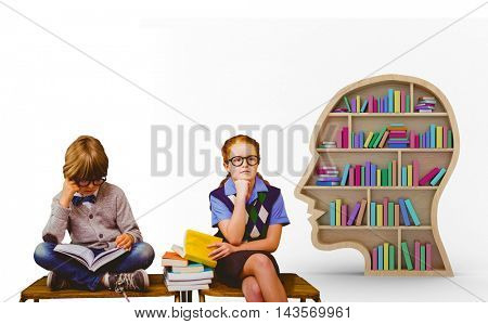 Pupils studying against colorful books in human face bookshelves over white background