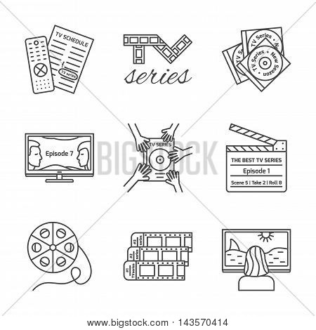 Set of isolated TV series thin lined outlined icons. Vector signs for design of apps interfaces web sites banners presentations etc.
