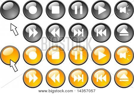 Set of media icons.  Vector illustration.