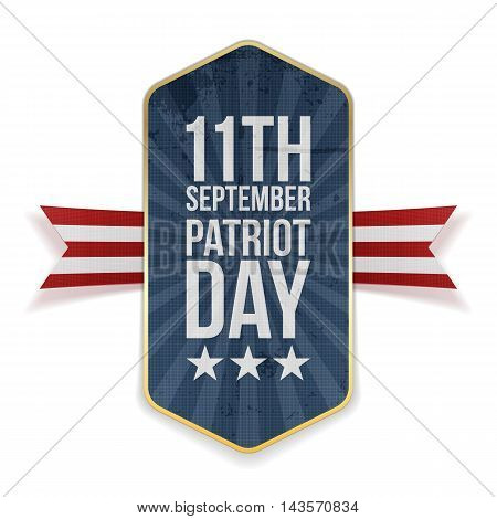 Eleventh September. Patriot Day Banner with Ribbon