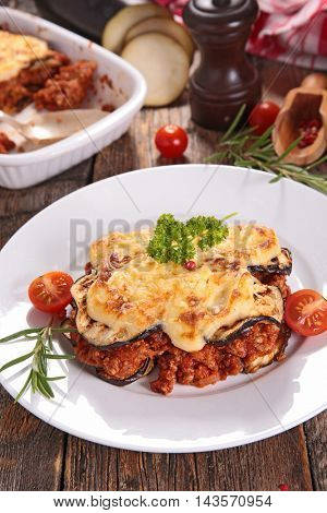 moussaka with aubergine and beef
