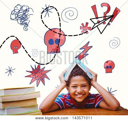 Pupil with many books against paper airplane graphic