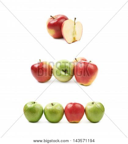 Red and green apples composition isolated over the white background, set of three different foreshortenings