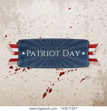 Patriot Day Tag and Ribbon on grunge Background