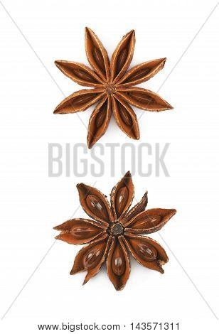 Single Chinese star anise seed isolated over the white background, set of two different foreshortenings