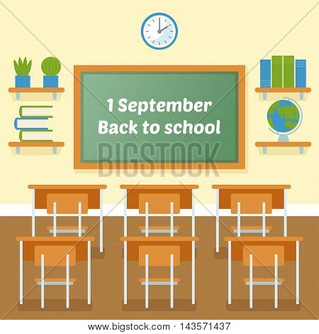 School classroom with chalkboard vector flat illustration. 1 September. Back to school background. First day of school