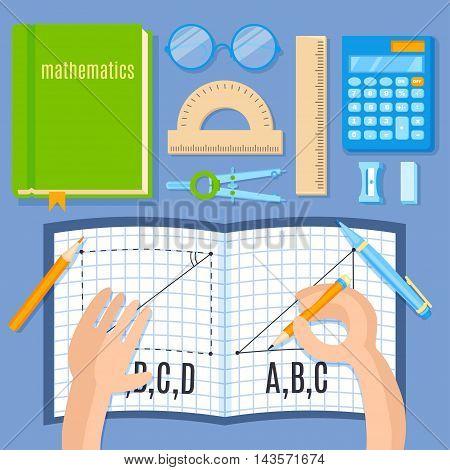 School and education mathematics flat vector illustration. Open notebook in hands. Math supplies.
