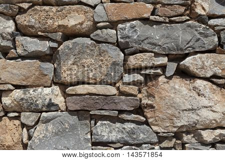 Wall from large stone textured basalt. Good background for wallpaper