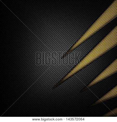 yellow and black carbon fiber background. 3d illustration material design. racing style.