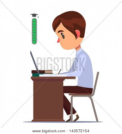Student sitting behind desk and studying. University level up. Vector character.