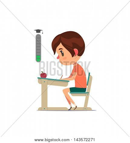 Student sitting behind desk and studying. Elementary school level up. Vector character.