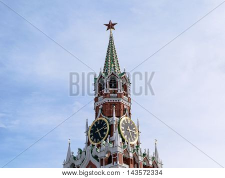 Moscow, Russia - July 07, 2016: Chimes and Courant (huge clock) on the Spassky Tower of Kremlin