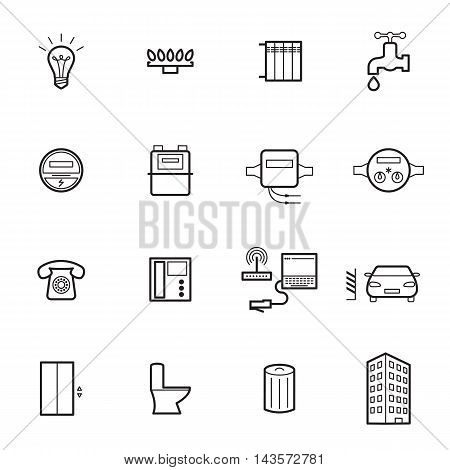 Utilities icons isolated on a white background. Vector illustration