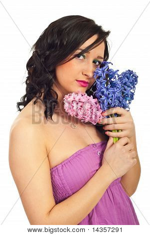 Beauty Young Woman With Hyacinth Bouquet