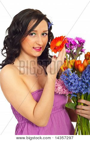Happy Woman Holding Flowers Bouquet