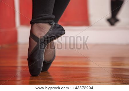 Ballerina Performing On Wooden Floor