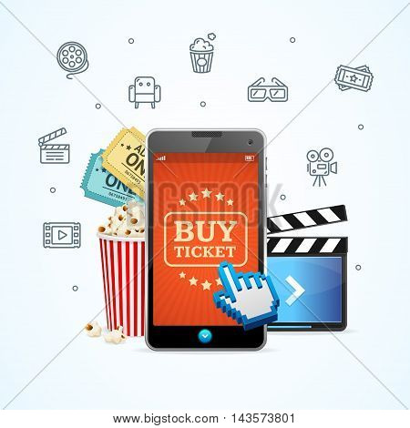 Online Ticket Cinema with Mobile App. Service Concept. Vector illustration