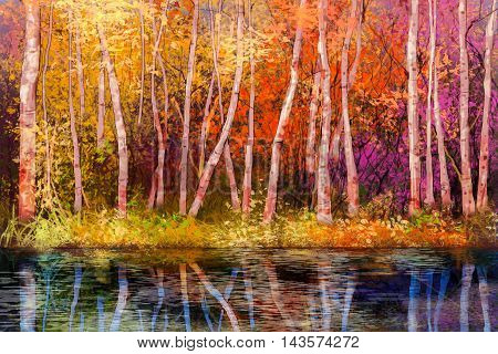 poster of Oil painting landscape - colorful autumn trees. Semi abstract image of forest trees with yellow - red leaf and lake. Autumn Fall season nature background. Hand Painted landscape Impressionist style