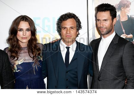 NEW YORK-JUNE 25: (L-R) Actors Keira Knightly, Mark Ruffalo and musician Adam Levine of Maroon 5 attend the New York premiere of