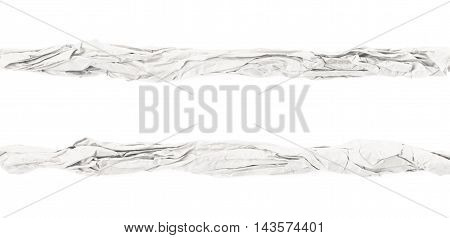 Line of crubled paper isolated over the white background