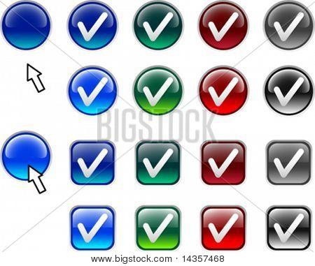 Mucho de los iconos de la verificación. Ilustración del vector.