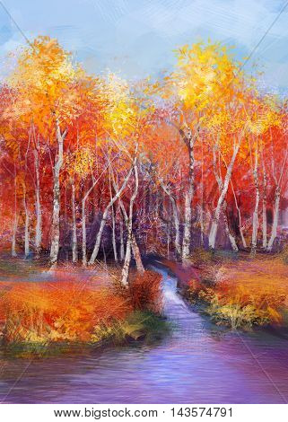 Oil painting landscape - colorful autumn trees. Semi abstract image of forest trees with yellow - red leaf and lake. Autumn Fall season nature background. Hand Painted landscape Impressionist style