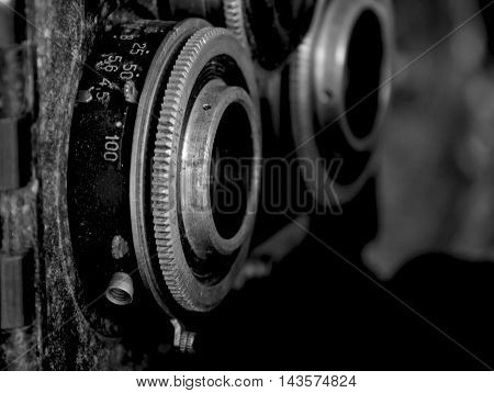 Lens of old and vintage photo camera