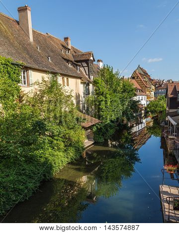 COLMAR FRANCE - 30TH JULY 2016: Views along the River Lauch in Colmar in the morning