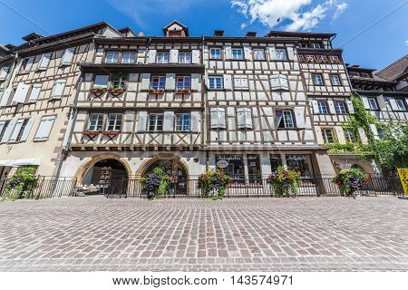 COLMAR FRANCE - 30TH JULY 2016: A view of timber framed buildings in Colmar Alsace during the day