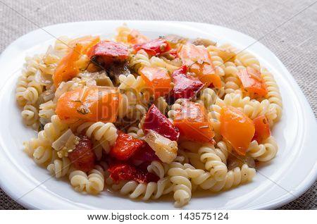 Italian Pasta Fusilli With Vegetable Sauce Closeup