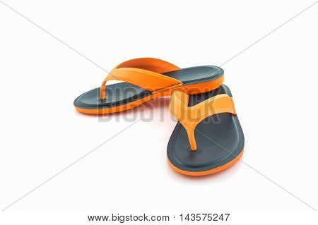 Colorful of Sandals shoes. Orange and black flip flops on white background.