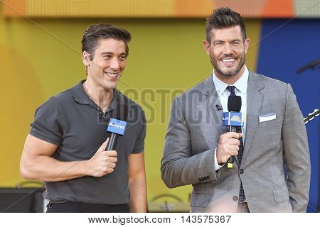 NEW YORK-AUG 12: David Muir (L) and Jesse Palmer on ABC's