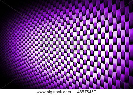 purple curve carbon fiber on the black shadow. car accessories. background and texture. 3d illustration.